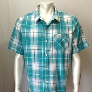 O'Neill Mens X-Large Teal Plaid Button Up Shirt